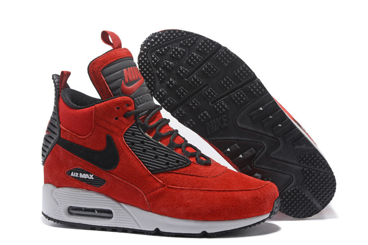 Зимние кроссовки Nike Air Max 90 Sneakerboot Ice Red (40-46)