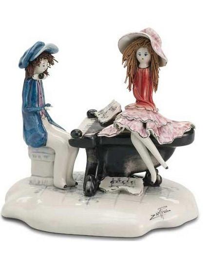 Статуэтка Пианист и дама. Керамика, ручная работа, Италия