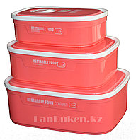 Контейнер для еды Homio Rectangle Food container 3 в 1 (розовый)