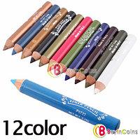 12 цветных карандашей для макияжа бровей и век