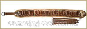 Патронташ №7 (натур.кожа. св.корич.,12клб-24патрона, камуфляжная ткань кордур)