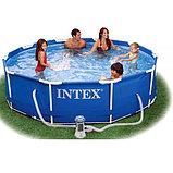 Каркасный сборный бассейн Intex Metal Frame Pool. 305 х 76 см. с фильтром, фото 6