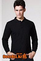 Черный лонгслив-поло, мужская футболка-поло с длинным рукавом, фото 1