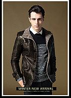 PU Кожаная куртка с толстым ворсистым подкладом цвета темный кофе XL
