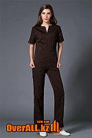 Коричневый женский медицинский костюм, фото 1
