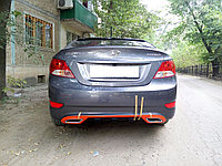 Накладка на задний бампер Hyundai Accent 2010-2013, фото 1