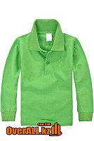 Детская зеленая футболка поло с длинным рукавом, фото 1