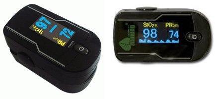 Пульсоксиметр Atmung MC300C21C поддерживает вывод информации на дисплей в портретном режиме (справа) и в ландшафтном (слева)