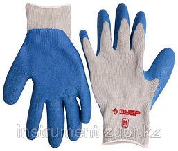 Перчатки ЗУБР рабочие с резиновым рельефным покрытием, размер M