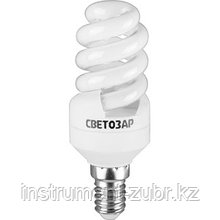 "Энергосберегающая лампа СВЕТОЗАР ""КОМПАКТ"" спираль,цоколь E14(миньон),Т2,теплый белый свет(2700 К), 10000час, 12Вт(60)"