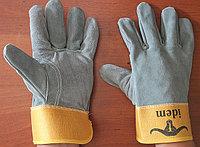 Перчатки спилковые комбинированные, толстый спилок