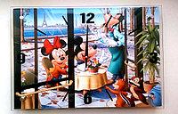 """Детские часы-картина настенные """"Микки Маус и Минни"""",стекло, фото 1"""