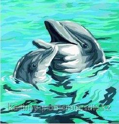 """Картины по номерам(цифрам)  - Алматы, """"Счастливые дельфины"""""""