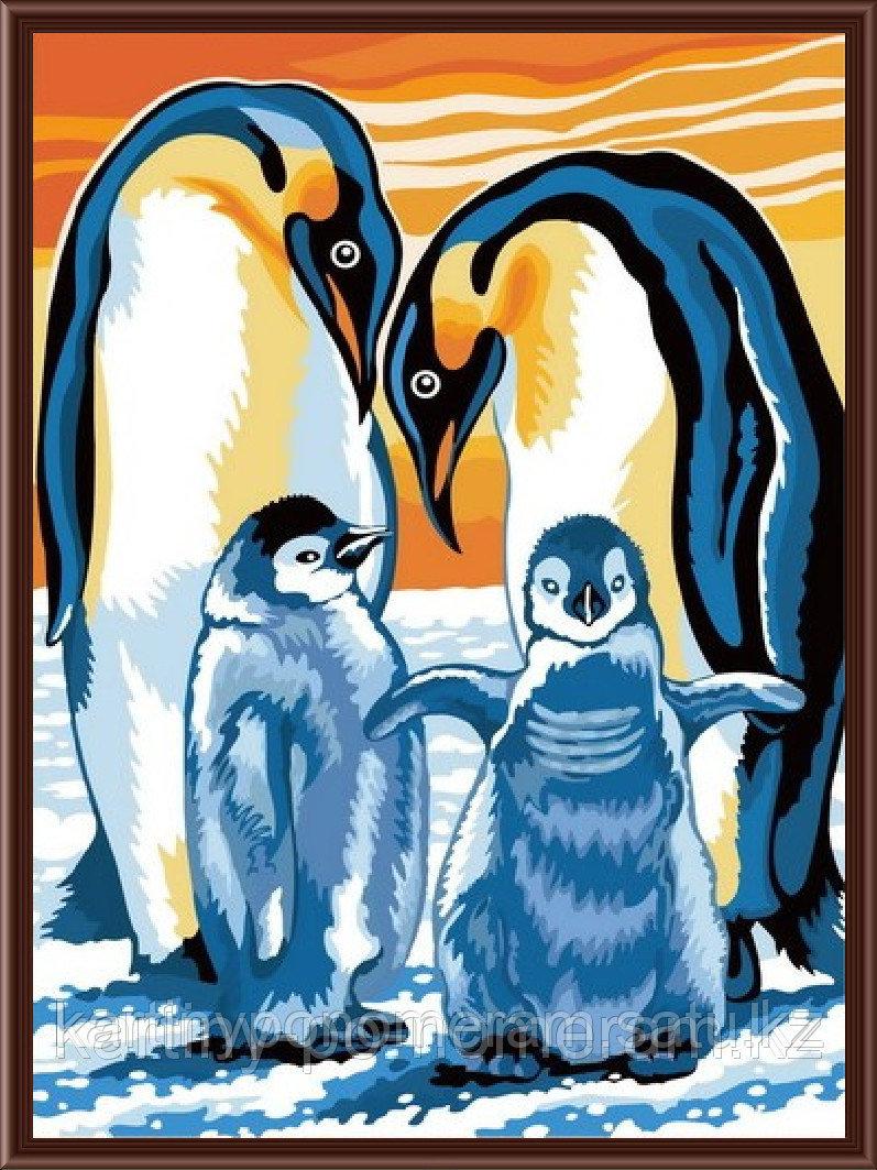 """Картины по номерам  - Алматы,   """"Семья пингвинов"""""""