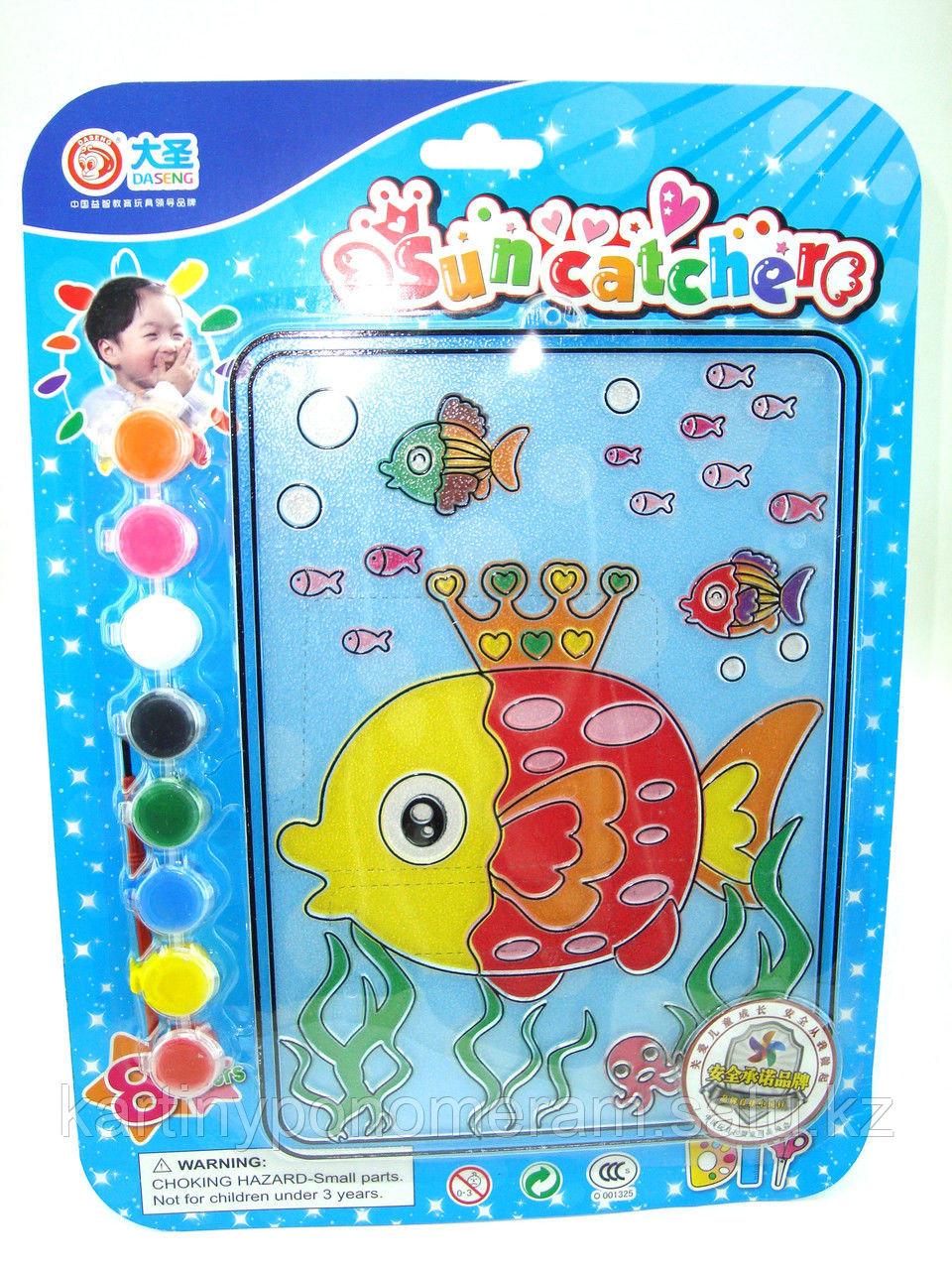 Витражные картины-раскраски для детей , Рыбка 24x20