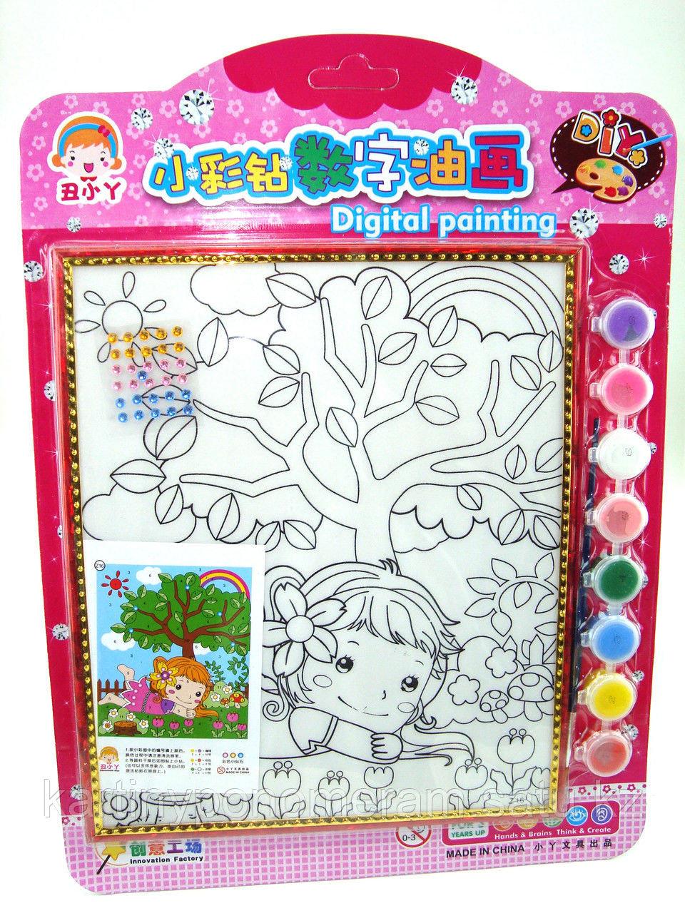 Картины-раскраски для детей , Девочка под деревом 24x20