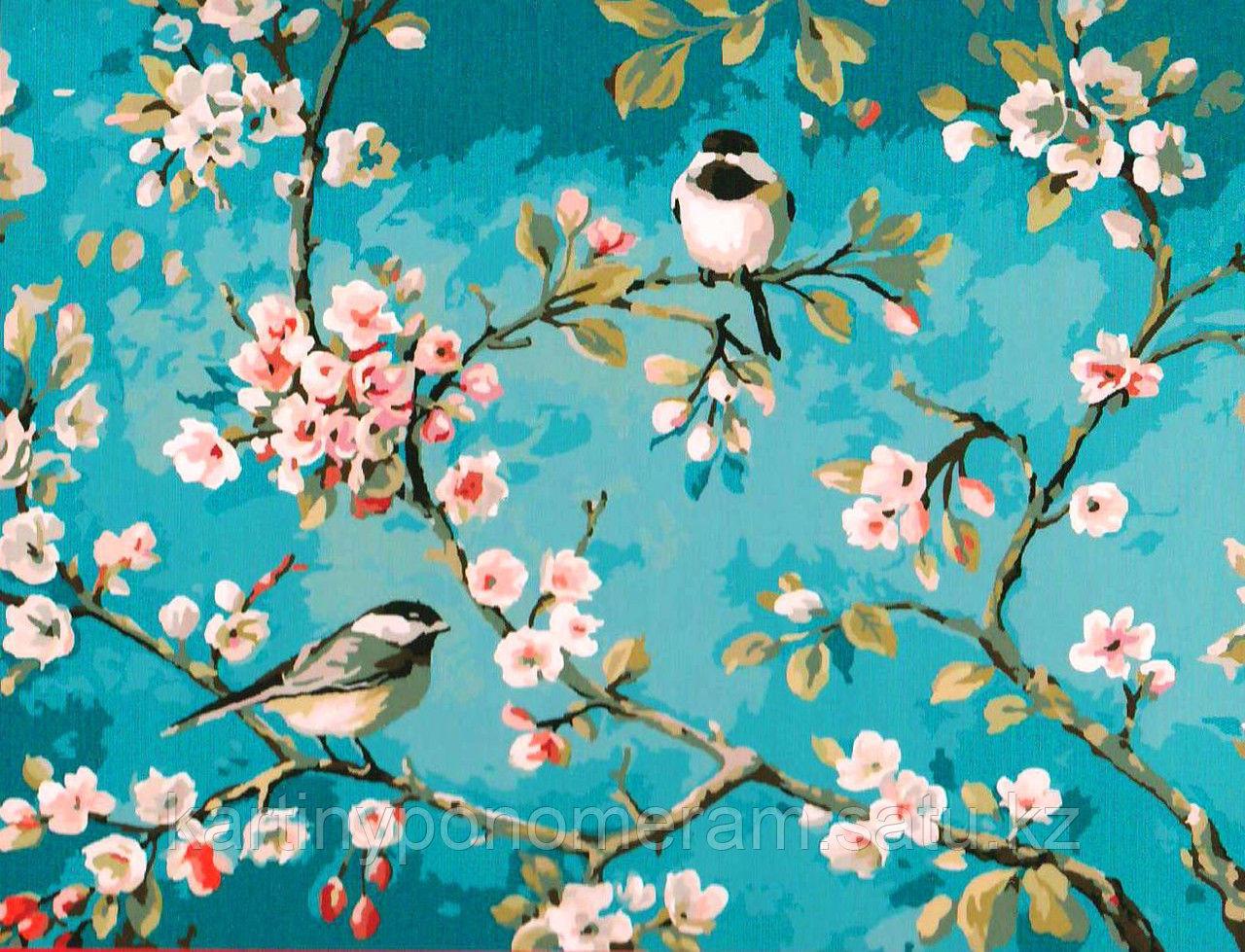 """Картина по номерам """"Синицы на цветущей ветке"""""""