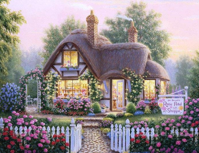 """Картина по номерам """"Дом в розовых розах"""""""