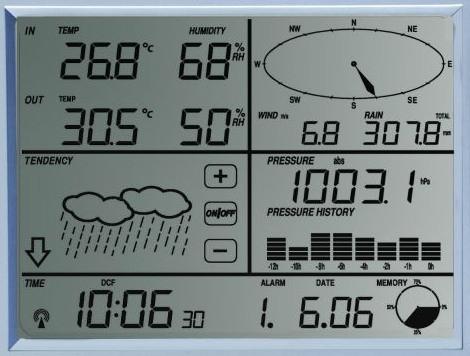 """Метеостанция """"AW002""""  имеет большой сенсорный дисплей с подсветкой"""