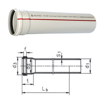 Труба (канализационная) ПВХ SANTEC 100/3000 (3.2)