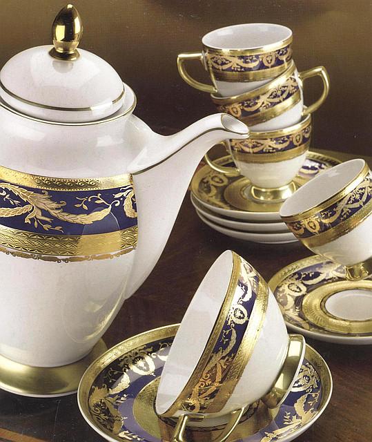Цептер Фарфор Империал Голд Кобальт кофейный сервиз на 12 персон