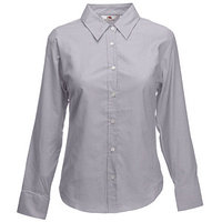 "Sale 2014 Рубашка ""Lady-Fit Long Sleeve Oxford Shirt"", светло-серый_L, 70% х/б, 30% п/э, 135 г/м2"