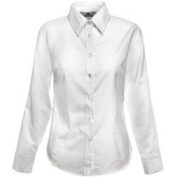 "Textile Рубашка ""Lady-Fit Long Sleeve Oxford Shirt"", белый_M, 70% х/б, 30% п/э, 130 г/м2"