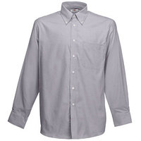 "Textile Рубашка ""Long Sleeve Oxford Shirt"", светло-серый_XL, 70% х/б, 30% п/э, 135 г/м2"