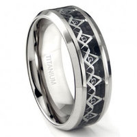 Titanium 8MM Masonic Symbol Inlay over Black Carbon Fiber Inlay Wedding Band Ring