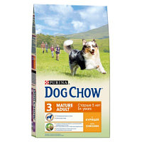 Dog Chow Mature Adult 5+, Дог Чау корм с курицей для собак старше 5 лет, уп. 14кг.