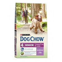 Dog Chow Senior, Дог Чау корм с ягненком для собак старше 9 лет, уп. 14кг.