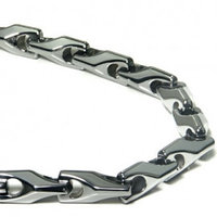 Tungsten Carbide Men's Wheat Link Necklace Chain