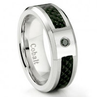 Cobalt Chrome 8MM Black Diamond & Black Carbon Fiber Inlay Wedding Band Ring