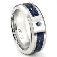 Cobalt Chrome 8MM Blue Sapphire & Blue Carbon Fiber Inlay Wedding Band Ring