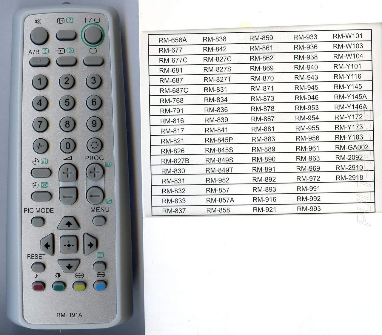 Пульт универсальный Sony HUAYU RM-191A-1