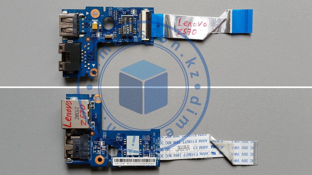 USB порт, плата, LAN разъем LENOVO Z570