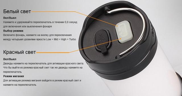 Кемпинговый фонарь управляется всего одной кнопкой (нажмите на изображение, чтобы увеличить)