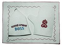 """Набор для бани и сауны (мужской), с надписью """"Самый лучший BOSS"""""""