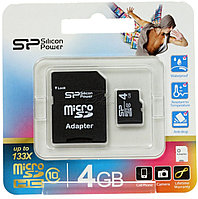 МикроСД 4гб SP Silicon Power (10ый класс, microSD + адаптер)