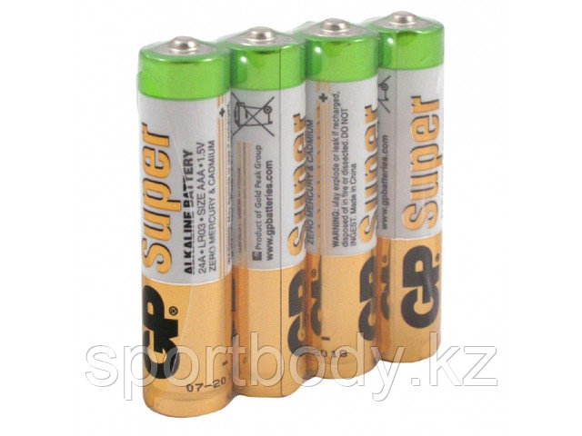 Батарейки GP Batteries Super Alkalin AAA (LR03/24ARS-2SB4) комплект - 4 штуки, пленка 48/96  - Modern Computers в Алматы