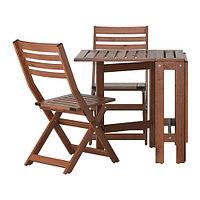 Стол+2 складных стула, д/сада ЭПЛАРО коричневая морилка ИКЕА, IKEA