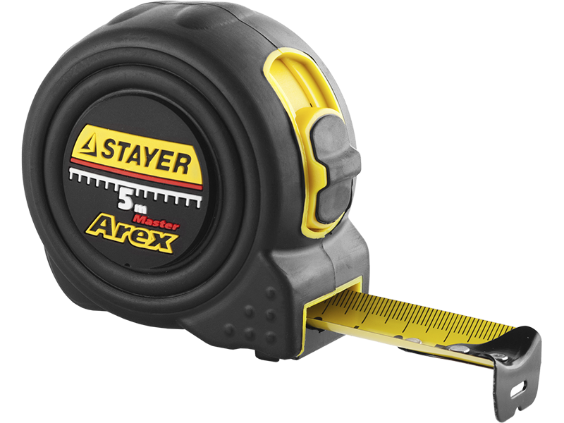 "(3410-05-25_z01) Рулетка STAYER ""PROFI"" ""AREX"", двухкомпонентный противоударный корпус, упрочненное полотно."