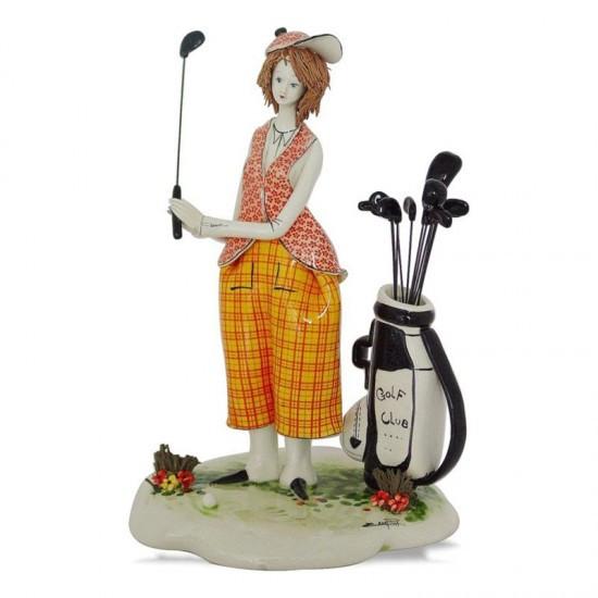 Статуэтка Девушка играющая в гольф. Италия, ручная работа, керамика