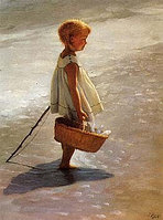 Репродукция картины I Davidi — Young Girl on a Beach, 56x71 cm, EG 273