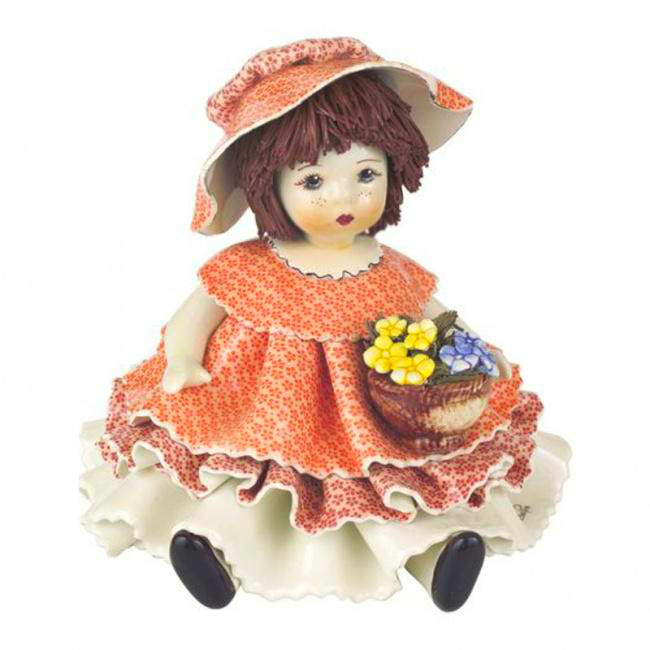 Статуэтка Девочка с цветами. Керамика, Италия, ручная работа