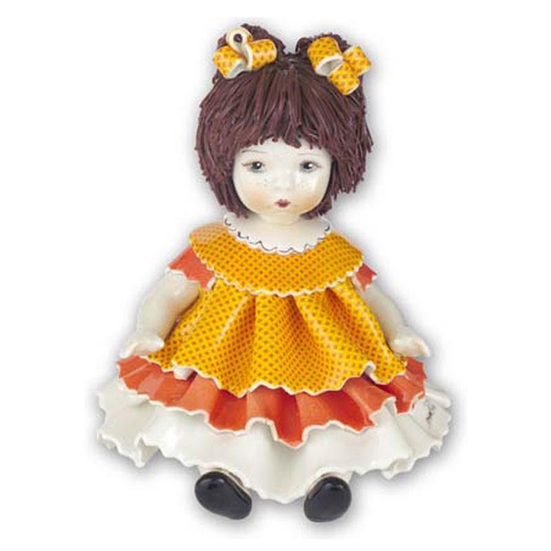 Статуэтка Девочка с двумя хвостиками. Италия. Керамика. Ручная работа