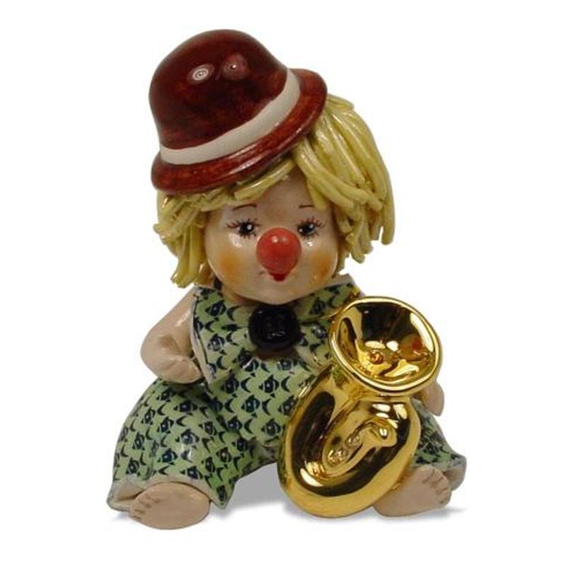 Статуэтка Клоун с трубой. Керамика, ручная работа, Италия