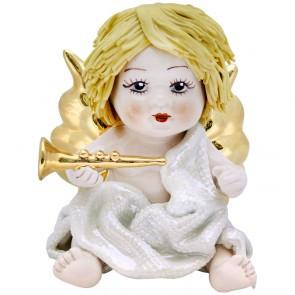Статуэтка Купидон с трубой. Керамика, Италия, ручная работа.