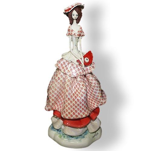 Статуэтка из керамики Леди с веером. Ручная работа, Италия