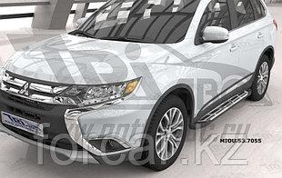 Пороги алюминиевые (Corund Silver) Mitsubishi Outlander (Митсубиши Аутлендер) (06-12;12-;15-)/ASX (2010-)/Peug